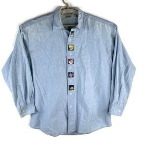Looney Tunes Acme Clothing Mens Button Shirt Blue